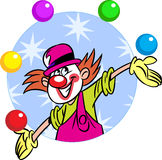Circus clown with balls. The illustration shows a circus clown who juggles balls. Illustration done in cartoon style, on separate layers Royalty Free Stock Photos