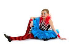 Circus Clown Child Performer. A Child Dance Performer Dressed in Circus Clow Costume Royalty Free Stock Image