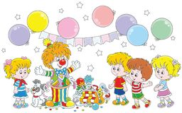 Circus clown and children Royalty Free Stock Photos