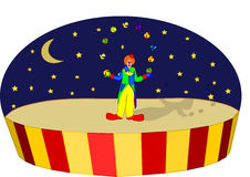 Circus clown. Funny circus scene with a clown juggling with balls vector illustration