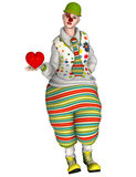 Circus clown with heart Royalty Free Stock Photo