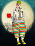 Circus clown with heart and moon Royalty Free Stock Photos