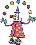 Circus clown juggler cartoon illustration Stock Images