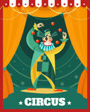 Circus Clown Juggling Performance Poster Stock Photography