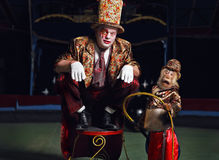Circus clown with a monkey. Stock Photography