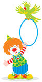Circus clown and parrot. Vector clip-art of a funny circus clown playing with his green parrot Stock Photos