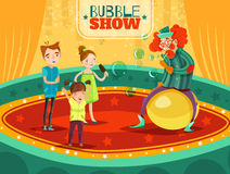 Circus Clown Performance Bubble Show Poster stock illustration