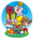 Circus clown with pets. Color illustration Stock Photography
