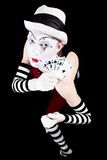 Circus clown with playing cards Stock Photos