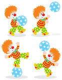 Circus clown plays a ball Royalty Free Stock Photo