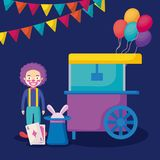 Circus clown with pop corn cart vector illustration