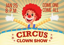 Circus Clown Poster Invite Template Vector. Amusement Park Party. Carnival Festival Background. Illustration Royalty Free Stock Photo