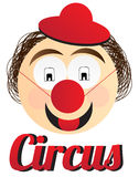 Circus clown. Vector illustration of a circus clown with hat and red nose. Eps format is available Stock Photography
