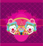 Circus and clowns abstract funny card Royalty Free Stock Photography