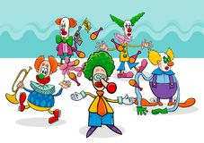 Circus clowns cartoon characters group. Cartoon Vector Illustration of Circus Clowns Characters Group Royalty Free Stock Photo