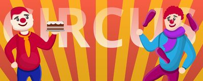 Circus clowns concept banner, cartoon style stock illustration