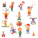 Circus Clowns Cute Funny Different Positions and Actions Character Icons Set Retro Cartoon Design Vector Illustration Stock Images