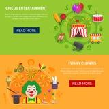 Circus and clowns horizontal set banner Royalty Free Stock Photos