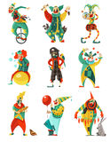 Circus Clowns Icons Set. Funny circus clowns decorative icons set in color with trick cycle pirate costume and balloon vector illustration Royalty Free Illustration