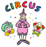 Circus Clowns. JPG and EPS. Funny Illustration with Circus Clowns. JPG and EPS stock illustration
