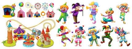 Circus clowns and many rides Royalty Free Stock Photos
