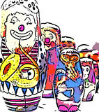 Circus clowns and monkeys. A photograph of Russian dolls clowns and monkeys digitaly altered to produce a comic drawing effect Royalty Free Stock Photo