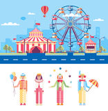 Circus and Clowns. Set stock vector illustration isolated city street with amusement park, circus tent, ferris wheel, cartoon mummers, clowns, jugglers in flat Stock Images