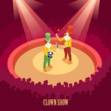 Circus Clowns Show Isometric Poster Stock Photography