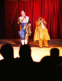 Circus clowns on stage Stock Image