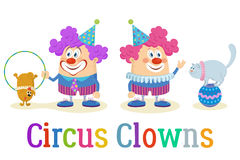 Circus Clowns with Trained Animals Royalty Free Stock Image