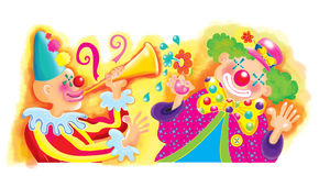 Circus clowns. Two colorful circus clowns with hats, one has a trumpet, and the other has a fake flower for playing pranks. Both are wearing funny hats and both Stock Image
