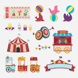 Circus collection with carnival, fun fair. Vector icons and background and illustration collection. Stock Photography