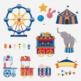 Circus collection with carnival, fun fair. Vector icons and background and illustration collection. Stock Image