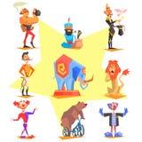 Circus collection with carnival, fun fair, vector Stock Image