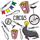Circus. Collection of hand drawn icons. Vector illustration, EPS 10 Royalty Free Stock Photos