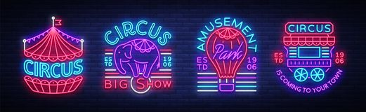 Circus collection of neon signs. Set of logos for circus in neon style, circus symbol, neon banner, bright nightly royalty free illustration