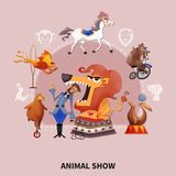 Circus Cartoon Composition. Circus colored cartoon composition with different animals who work in the circus vector illustration Royalty Free Stock Photo
