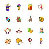 Circus comics icons set cartoon Stock Photos
