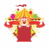 Circus composition with the kind clown. On a white background Stock Photo