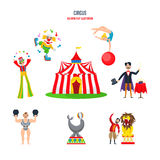 Circus concept - performances, clowns, jugglers, strongman, acrobats, magician, animal trainer. Royalty Free Stock Photography