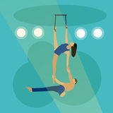 Circus concept vector banner. Acrobats and artists perform show in arena Royalty Free Stock Photography