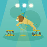 Circus concept vector banner. Acrobats and artists perform show in arena. Stock Photography