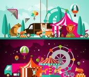 Circus dag en nacht Stock Afbeeldingen