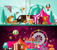 Circus day and night Stock Images