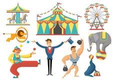 Circus Decorative Flat Icons Set Royalty Free Stock Photos