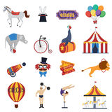 Circus Decorative Icons Set Stock Photography