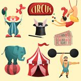 Circus decorative set. With tent clown magic hat isolated vector illustration Royalty Free Stock Photo