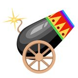 Circus design black cannon on wheels with burning wick and colored ornament vector illustration on white background web site page. And mobile app design Royalty Free Stock Photo