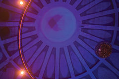 Circus dome. Blue radial circus tent inside Royalty Free Stock Photography