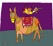 Circus donkey and bird. Illustration Royalty Free Stock Images